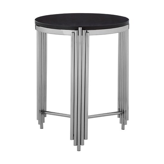 Knudson Round Granite Side Table With Stainless Steel Frame