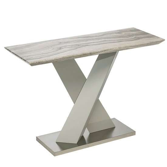 Malin Console Table In Granite Effect And High Gloss Grey