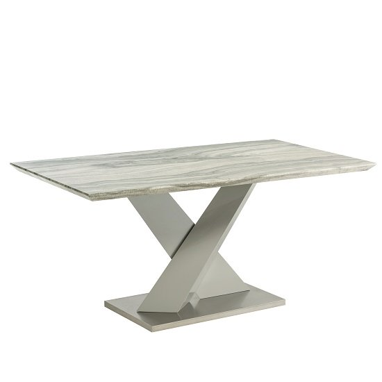 Malin Dining Table In Granite Effect And High Gloss Grey